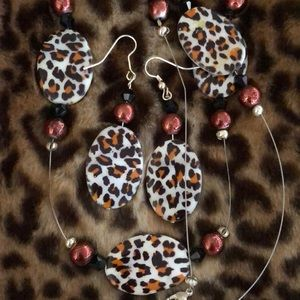 Jewelry - 3pc Brand new CUSTOM leopard necklace earring set